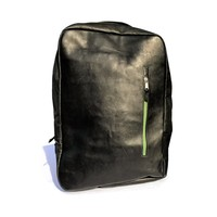 zilla   black leather laptop backpack with green zippers   signature bati collection