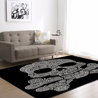 Flower Skull Delicate Europe Soft Carpet For Living Room Bedroom Rug Home Floor