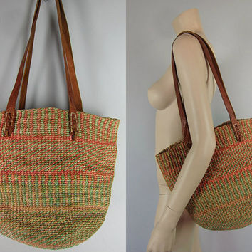 Vintage Tribal Leather Bag Jute Bucket Tote Bag Ethnic Hippie Market Woven Boho Kenya Handbag