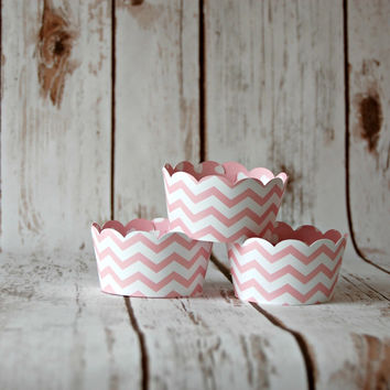 Pink Chevron Cupcake Wrappers, Reversible Cake Wraps,  Pink Damask Cupcake Decoration