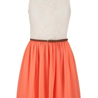 Lace Sweetheart Top Dress - Living Coral
