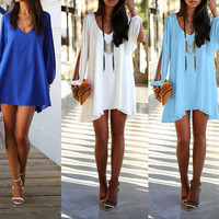 Hot Summer Casual Dress Sexy V-Neck Loose Unequal Short Chiffon Dress, Mini Dress