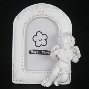 Retro Vintage White Angel Cupid Home Decor Photo Frame Picture Frame Resin 2''