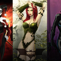 Poison Ivy Catwoman Harley Quinn Hot Girls Comics Poster