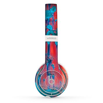 The Bright Red Metal with Turquoise Rust Skin Set for the Beats by Dre Solo 2 Wireless Headphones