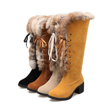 Round Toe Lace Up Suede Faux Fur Low Chunky Heel Snow Half Boots