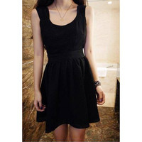 Black Sleeveless Backless Ruffled Dress
