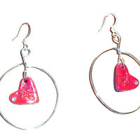 Red Polymer Clay Heart Earrings, Heart in a Circle  ON SALE