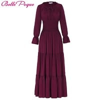 Belle Poque 2017 Medieval Dress Cotton Long Maxi Dresses Gowns Victorian Gothic Lo Vintage Long Sleeve Renaissance Dress Womens