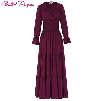 Belle Poque 2018 Medieval Dress Cotton Long Maxi Dresses Gowns Victorian Gothic Lo Vintage Long Sleeve Renaissance Dress Womens