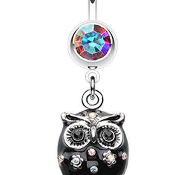 Sweet Blossom Owl Belly Button Ring