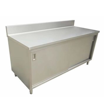 """Commercial Stainless Steel Work Prep Table Cabinet 30"""" x 72"""" with 4"""" Backsplash"""