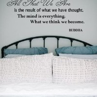 Housewares Vinyl Decal Yoga Pose Buddha Quote the Mind Is Everything Home Wall Art Decor Removable Stylish Sticker Mural Unique Design for Any Room