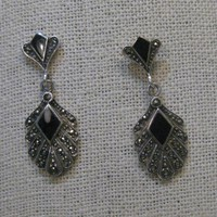 "Sterling Silver Onyx Marcasite Pierced Earrings, Stud & Dangle, 1970's-1980's, 1-5/8"", 8.56 gr."
