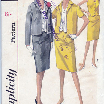 Skirt Weskit Blouse Jacket 1960s Sewing Pattern Simplicity 5358 Vintage Size 14 Bust 34 inches