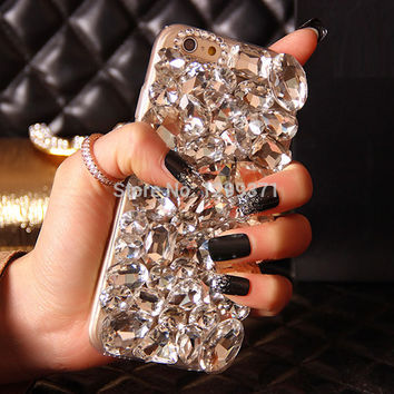 Bling Crystal Diamond Phone Case Cover For Iphone 7 6 6S Plus 5S 5C 4S Samsung Galaxy Note 7 5 4 3 2 S7 S6 Edge Plus S5/4/3 A8/7