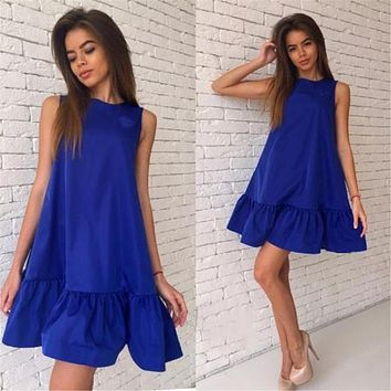 Summer Sexy Women Dress Sleeveless A-line Female Beach Dresses O-Neck Casual Above Knee Ladies Clothing Party Dress HLD57