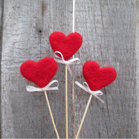 Red Hearts Felted Hearts on sticks Rustic Heart Cake Topper Red sweetheart Rustic Nature inspired  Autumn Home Decor Fairy folk Gift idea
