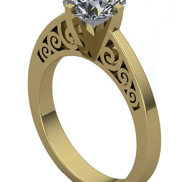 Gothic Engagement Ring with White Moissanite .75 14 k