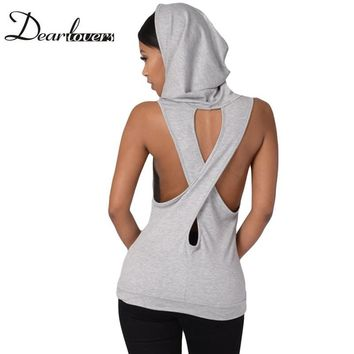 Dear lover Grey Black Royal Blue Hooded Cross Back Stylish Casual Style Vest Top Summer sleeveless casual tank Tops 2017 LC25802