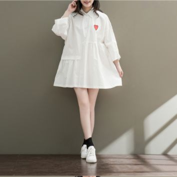 EMBROIDERED LOOSE SHIRT COLLAR LONG SLEEVE STUDENT DRESS TIDE