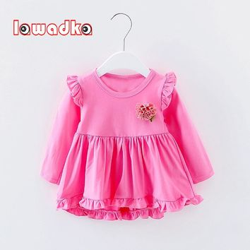 Lawadka Cute Baby Dress Cotton Solid Tutu Dress Baby Party Girls Baby Princess Infant Dresses
