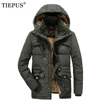 TIEPUS new winter jacket men's solid color hooded military coat man plus velvet warm down  park male Plus size L~ 6XL 7XL 8XL