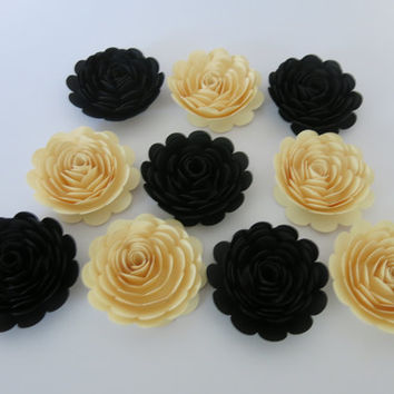 "classic Black & Ivory roses, 10 piece set 3"" paper flowers backyard Wedding floral decor mother of the bride gift idea stylish bridal shower"
