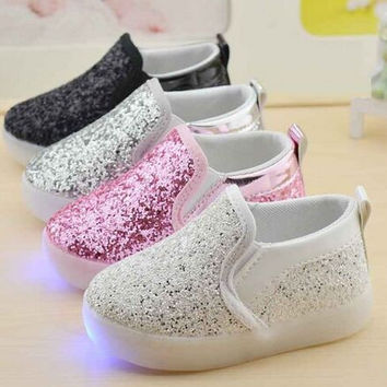 Toddler/Kids Casual Hemp w/ Glitter Illuminating Slip-On LED Shoes - Youth Sizes 6.5-11
