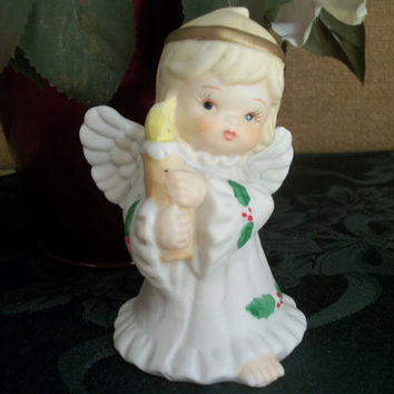 Porcelain Bisque Angel Girl Holding a Candle Figurine Vintage Holiday Home Christmas Decoration