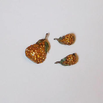 Forbidden Fruit Pear Brooch Matching Clip On Earrings, Rhinestone, Apple Juice Lucite, Austria, Amber, Topaz, 1940s, Domed