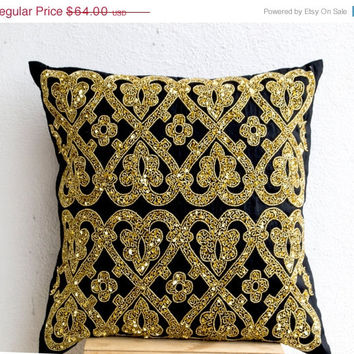 Valentine SALE Decorative Throw Pillow -Black Silk Gold Sequin Throw Pillows -Gold Embroidery Accent Pillow -Couch Pillows -Gift -24x24 -Chr