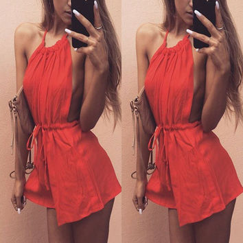 Summer Women's Fashion Red Sleeveless Jumpsuit [8098141639]