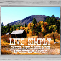 Live Simply Photograph, Aspen Photography, Typography Print, Tree Photo, Inspirational quote, Photo quote print