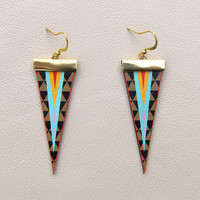 Leather Earrings  Geometric Triangles by tovicorrie on Etsy