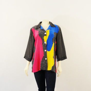 Vintage Shirt Colorblock Blouse 80s 90s Oversized Sheer Silk Polka Dots Primary Colors Shirt Size 12 Modern S M L Xl
