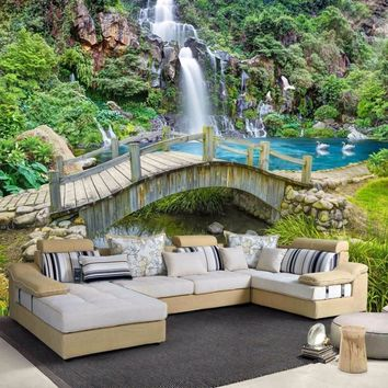 beibehang Custom Any Size 3D Mural Wallpaper Small Bridge Running Water Waterfall Nature Landscape Photo Background Wall Papers