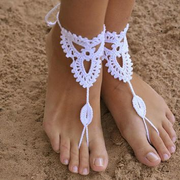 nude shoes foot jewelry wedding victorian lace sexy yoga anklet bellydance gift steampunk beach pool crochet ivory barefoot sandals gift box 2