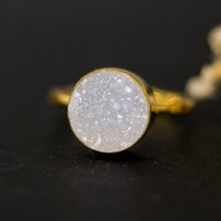 Druzy Ring – Gold Plated, Round Stacking Ring - Delezhen