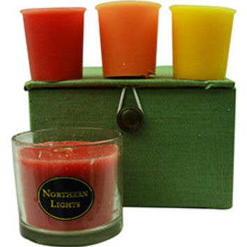 Candle Gift Box Chelsea CANDLE GIFT BOX CHELSEA PINK, GREEN & YELLOW PLAID BOX SET CONTAINS ONE PERSIMMON & QUINCE SMALL GLASS VASE & THREE VOTIVES FEATURING SUMMER CITRUS, GINGER TEA & HONEY AND PEACHES & CREAM UNISEX