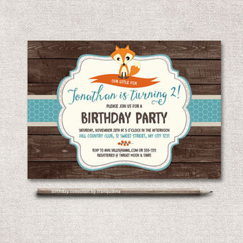 Fox Birthday Invitation Printable, Baby Shower Invite, Digital File - Woodland Invitation