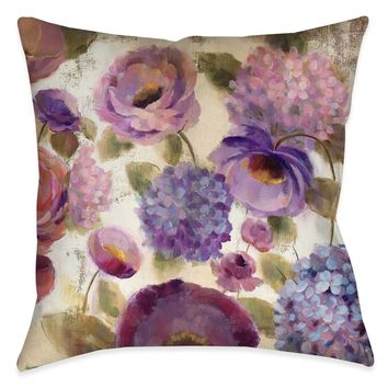 Blue and Purple Flower Song III Indoor Decorative Pillow
