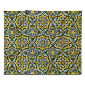 "Alison Soupcoff ""Sunflower"" Blue Yellow Fleece Throw Blanket"