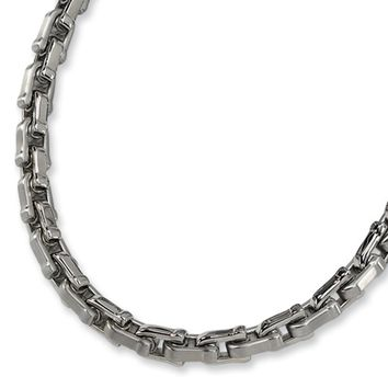 Stainless Steel Brushed and Polished Shackle Link Necklace