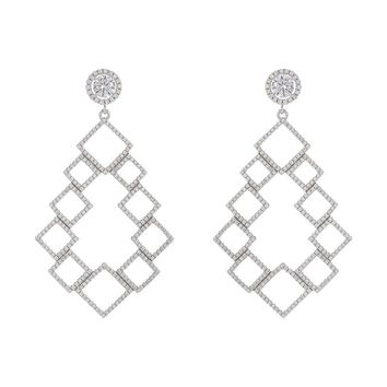 Rhodium Over Sterling Silver Fancy CZ Filigree Abstract Drop Earring