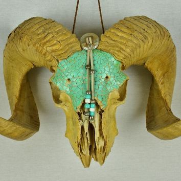 "Beautiful 20""+ Wide Full Curl Ram Skull Folk Art Turquoise Blue Decorations! Wow"