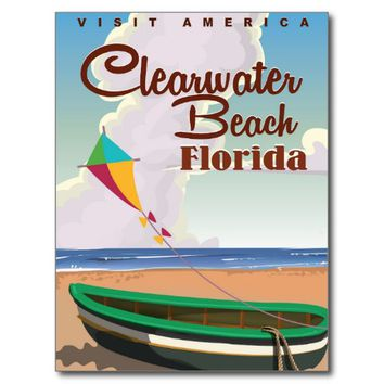 Clearwater Beach, Florida vintage travel poster Postcard