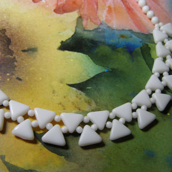 Summer White Sale, Vintage Milk Glass Bead Necklace
