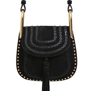 Black Front Weave Rivet Tassel Shoulder Bag