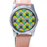 Quirky Owls Digital Art Pattern Wrist Watch